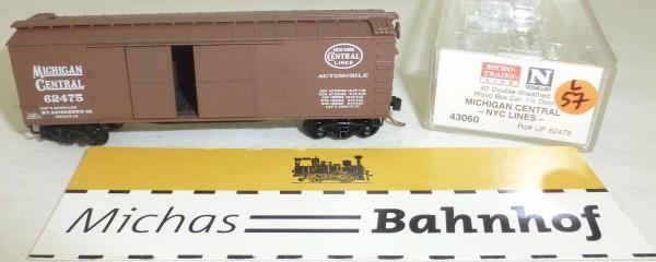 MICRO TRAINS 43060 Michigan Central 62475 40' Sheathed Wood Boxcar 1 1/2 N 1:160 #57L å