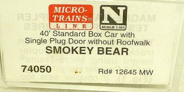 Micro Trains Line 75050 Smokey Bear F.P. X12645 40´ Box Car 1:160 OVP #E å *