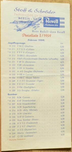 Revell Preisliste I/1959 (Februar 1959) å LG2