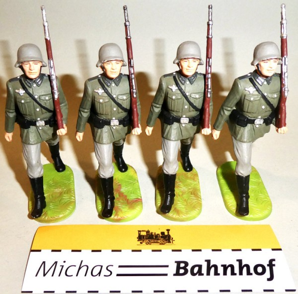 4x Soldaten marschieren Gewehr hoch Elastolin Kunststoff 8,5cm #3 HC5 å