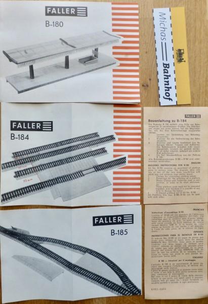 3 x FALLER Anleitung für B-180 B-184 B-185 Modell Bausätze AMS å