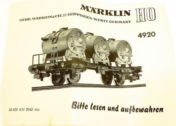 Märklin Anleitung Beschreibung 4920 68 420 AN 0962 ma å *