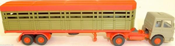 Tiertransporter halb offen Deutrans orange Auflieger LKW H0 1:87 å LH1