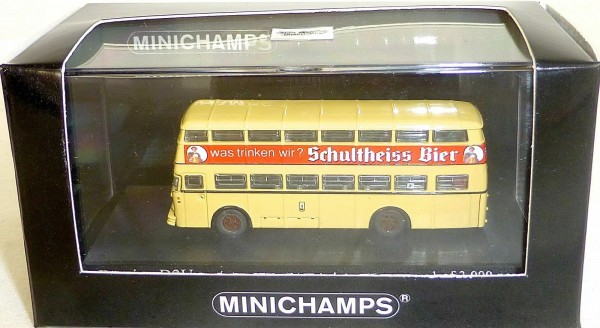 Büssing D2U Doppeldecker Bus Berlin 1957 Schultheiss Minichamps 1:160 OVP UY4 µ*