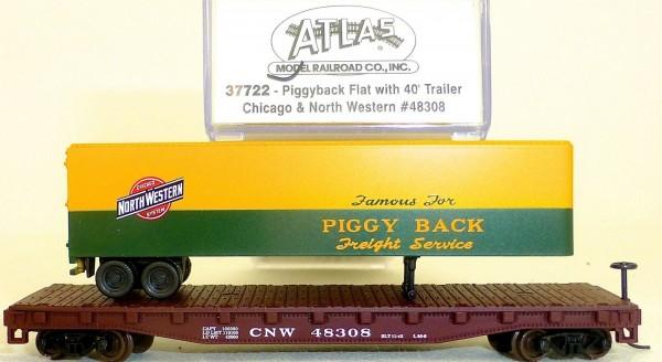 Piggyback Flat 40ft Trailer Chicago North Western ATLAS 37722 N 1:160 OVP #HS5 å