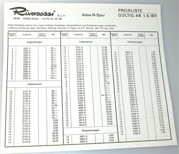 Rivarossi Atlas Spur N Preisliste 1971 å