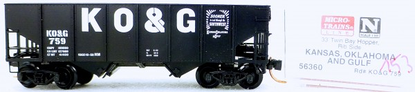 Micro Trains Line 56360 Kansas O&G 759 33' Twin Bay Hopper 1:160 OVP #i153 å