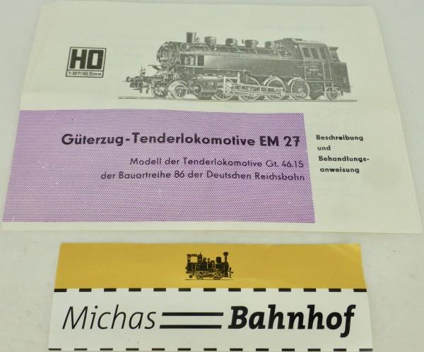EM 27 Gützold Anleitung H0 å