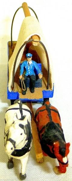 Brauereiwagen Faßtransport Kutscher zwei Pferde Holz Preiser 1:87 H0 GD1 PR24 å*