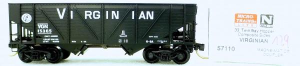 Micro Trains Line 57110 Virginian 15365 33' Twin Bay Hopper 1:160 OVP #i129 å