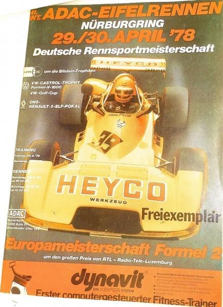 29./30. April 1978 ADAC Eifelrennen Nürburgring Programmheft å * X10