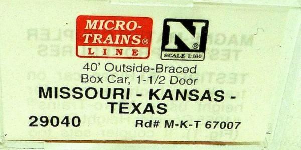 40´ Outside Br Boxcar MISSOURI KANSAS TEXAS Micro Trains Line 29040 N 1:160 C å*