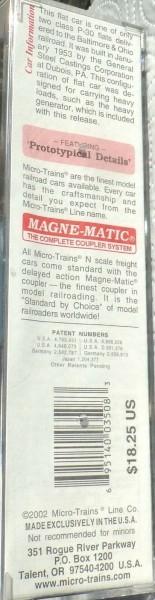 Micro Trains Line 109210 B&O Generator Load Heavyweight DC Flat OVP 1:160 B å *