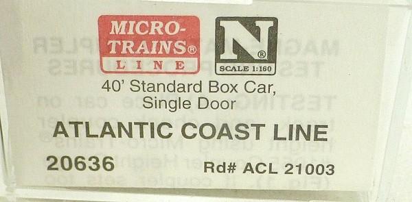 40´ St Boxcar Atlantic Coast Line 21002 Micro Trains Line 20636 1:160 D å *