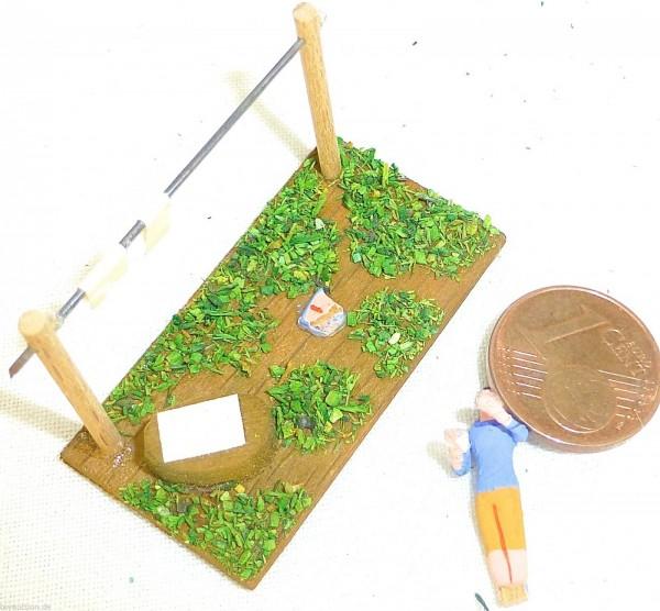 Preiser Frau beim Wäsche aufhängen Holz Diorama 50er 60er Jahre 1:87 H0 GD1 å *