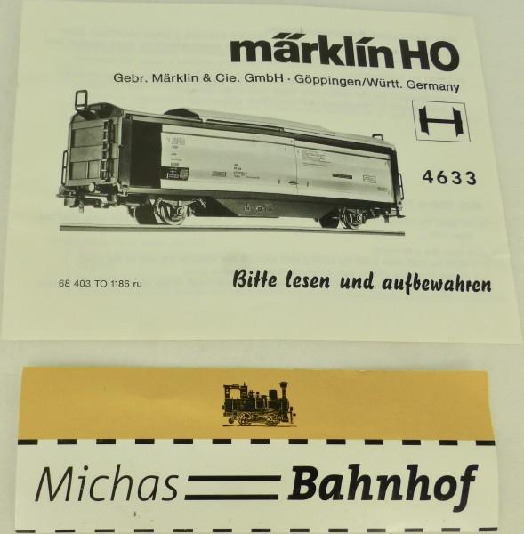 4633 Anleitung Märklin 68 403 TO 1186 ru H0 å