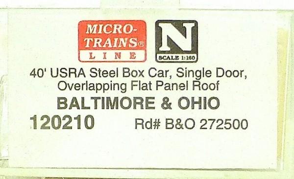 Micro Trains Line 120210 Baltimore Ohio 272500 40´ Steel Box Car 1:160 OVP #F å*