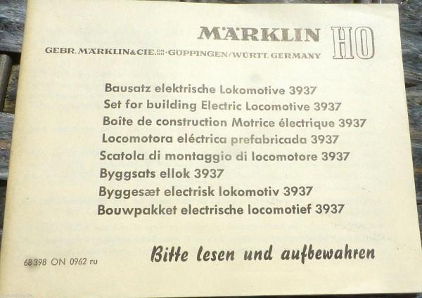 Anleitung Bausatz el Lokomotive 3937 Märklin 68 398 ON 0962 ru H0 1:87 å