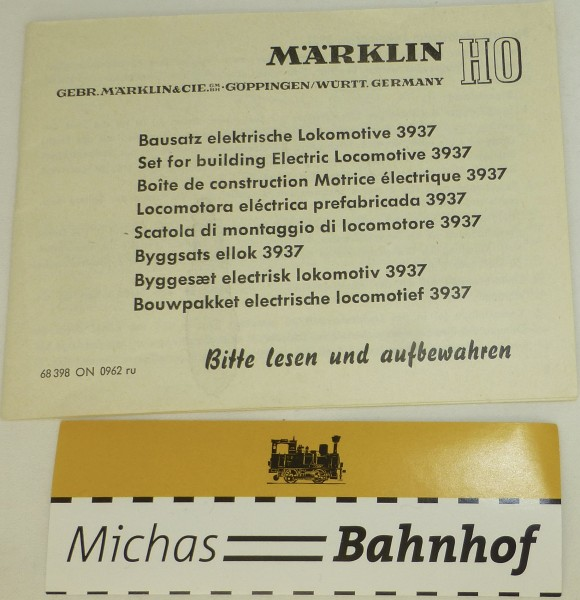 Anleitung Bausatz elektrische Lokomotive 3937 Märklin 68 398 ON 0962 ru å *