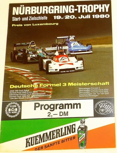19./20. Juli 1980 Nürburgring - Trophy Preis von Luxembourg PROGRAMMHEFT å I04 *