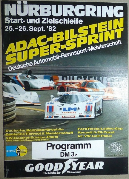 25.-26. Sept. 82 ADAC Bilstein Super Sprint Nürburgring PROGRAMMHEFT å II04 *
