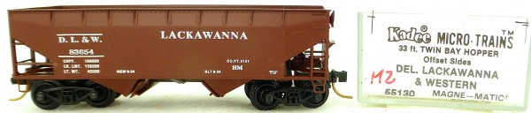 Micro Trains Line 55130 D.L. & L. 83654 33' Twin Hopper OVP 1:160 #K112 å