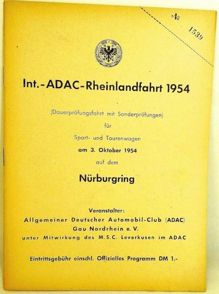 3. Oktober 1954 ADAC Rheinlandfahrt Nürburgring PROGRAMMHEFT VII06 å *